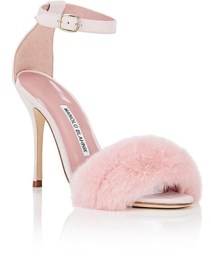 7d61e00a485ed Manolo Blahnik Mincha Suede Sandals - 9.5 Pink