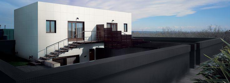 Titanium-White si Ivory-Black. FATADE placate cu gresie portelanata cu grosimea de 6 mm (15 kg/mp) si dimensiuni de: 3x1,5 m, 3x1 m, 1,5x1,5 m, 1,5x1 m, 1x1 m ... Contact: office@LastreCeramice.ro