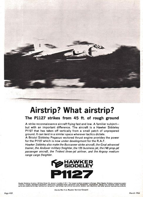 Advert P1127 Aviation Magazine Adverts in the Swinging Sixties. The progenitor of the Harrier.