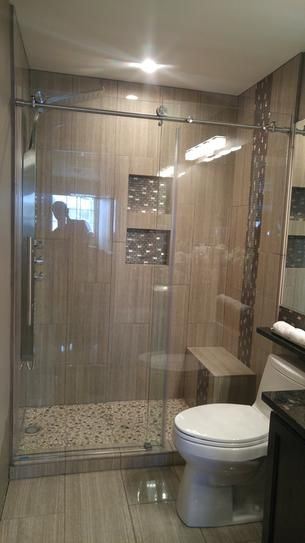 Sliding Door With Bench And Storage Pool Bath Master