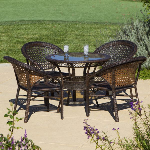 Christopher Knight Home Outdoor 5 Piece Wicker Dining Bistro Table Set Very