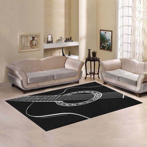 Black & White Acoustic Guitar Area Rug7'x5'