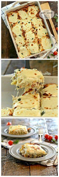 Cremoso Pollo blanco Caprese lasaña rellena de mozzarella, queso crema, alcachofas, tomates secos y albahaca. Tan delicioso! El perfecto comfort food! | El Cookie Rookie