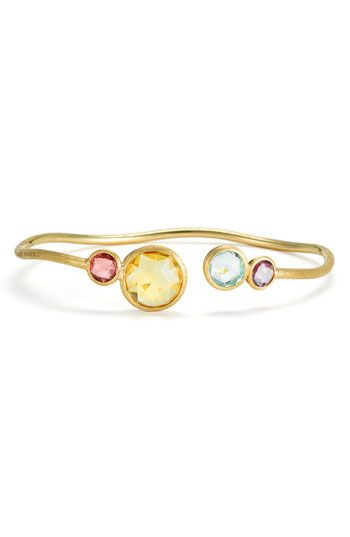 Marco Bicego 'Jaipur' Multi Stone Cuff - 18k brushed gold, Made in Italy.  Citrine, tourmaline, amethyst, blue topaz.