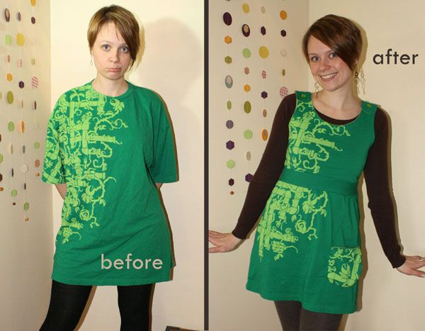 Pipe Vault T-shirt Dress | Community Post: 29 Ways To Makeover A Boxy Men's T-Shirt -- Would make a cute apron, too!