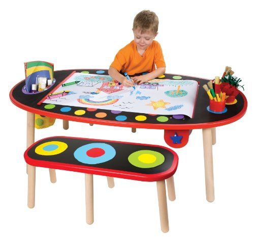 Art Desk For Kids Craft Table With Paper Roll 2 Benches Artist Play Draw