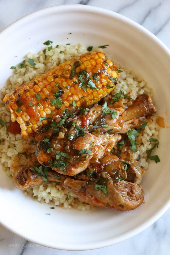 Pressure Cooker Stewed Chicken with Corn (Pollo Guisado con Maiz)   Skinnytaste   Bloglovin'