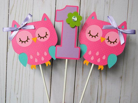 Owl Centerpieces, Owl Birthday Centerpieces, Owl Party Centerpieces,  Owl Centerpiece Sticks, Owl Party Decor, Owl First Birthday, Set of 3 #owl #1stbirthday