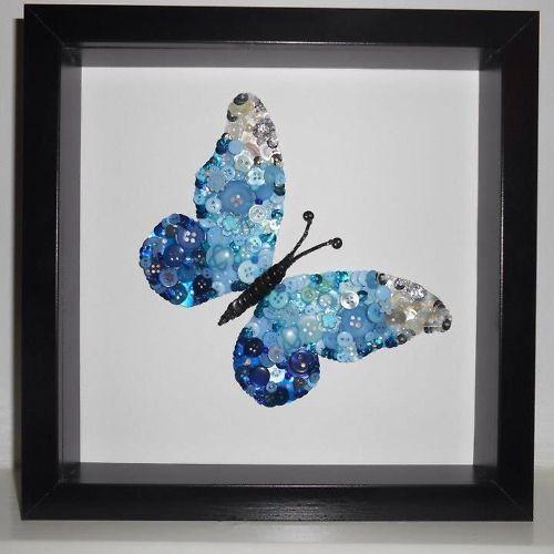 Framed Butterfly Button Art