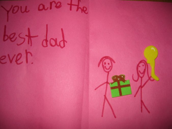 My daughter is trying to tell me something and it wasn't even Father's Day when she made the card.