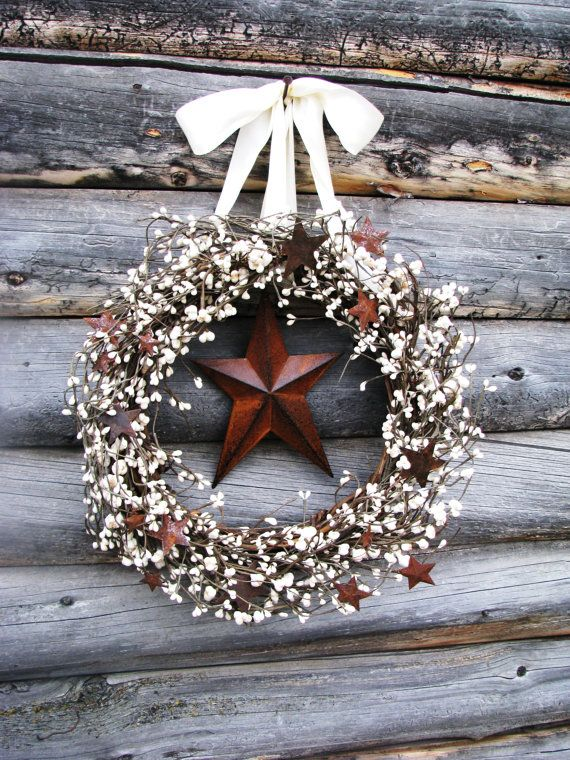 Scented white berry wreath with a rusty metal star by WildRidgeDesign on Etsy