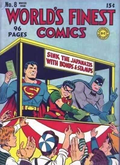 Wartime Comic Book. Here Superman, Batman, and Robin are selling War Bonds to young boys eager to support the war effort. Possible Questions: What famous people—real or fictional—have you seen campaigning for a cause? What causes or charities do you support with your money or your time?