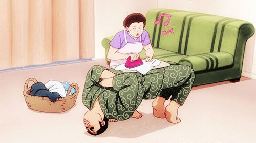 My Love Story.Takeo holding a bridge while his mom uses him as an ironing board. lmao!