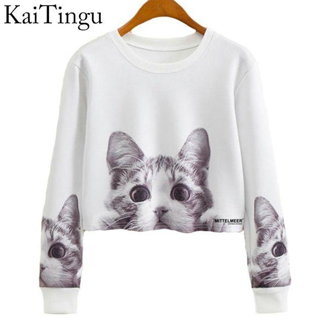 KaiTingu 2016 Jesień Kobiety Casual Swetry Harajuku Mody Panie Kot Krótkim Przycięte Crop Tops Wokół Szyi Z Długim Rękawem Bluza