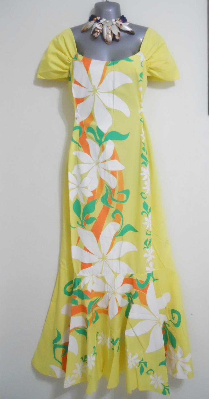 New Hawaiian Silk Flower Lei Hawaii Luau Party Favors Hula: New Hawaiian Women Muumuu Dresses Sz L XL Yellow Hawaii