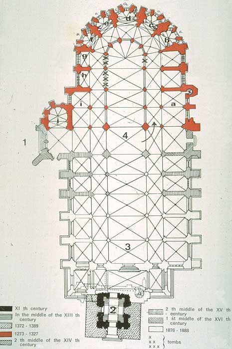 Saint-Étienne de Limoges - plan showing different construction epochs #gothic #cathedral