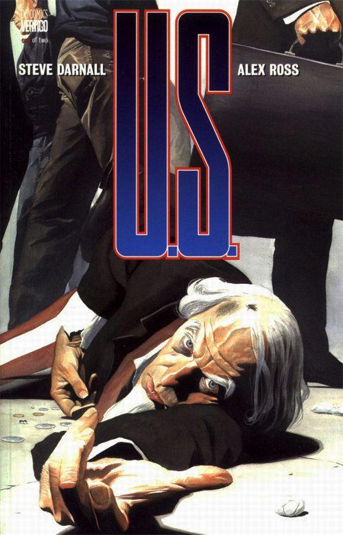 Uncle Sam # 1. El dibujante Alex Ross quiso mostrarnos en esta portada, de un Uncle Sam pisoteado por los transeúntes, la indiferencia americana y lo incorrecto en lo que pensaba se había convertido su sociedad. Poderosa imagen sobre uno de los iconos más representativos del espíritu americano, aquí convertido en un vagabundo al que la gente no presta atención y que desde el suelo, al igual que en la portada anterior saltándose otra vez la cuarta pared, nos mira fijamente extendiendo su mano…