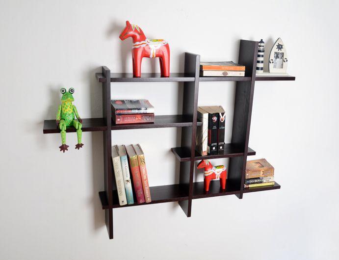 Awesome Chocolate Wall Cross Floating Shelf Design Inspirations