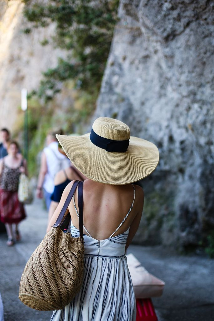 Beachwear on the Amalfi Coast, Italy – big beach hat