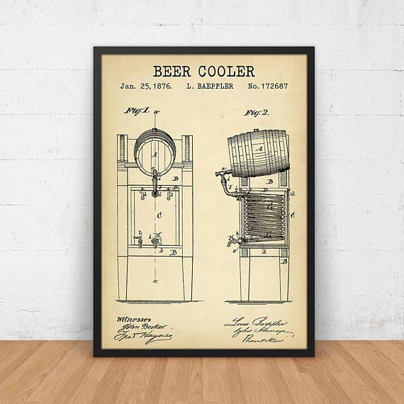 Bier cadeau, koeling proces octrooi Print, Bar Decor, digitale Download, brouwerij kunst aan de muur, Poster afdrukbare brouwen bier cadeau, Vintage Art