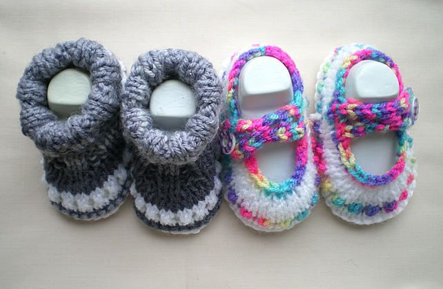 Baby Shoes,Hand Knitted,Mary Jane style,Footwear,Bootees,Baby wear £6.00