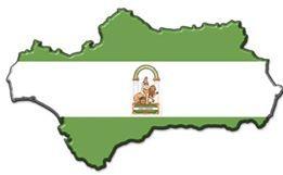 El mapa y la bandera de Andalucia
