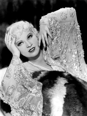 Mae West, in Beaded Dress, on Fur Rug, 1930s Print - at AllPosters.com.au