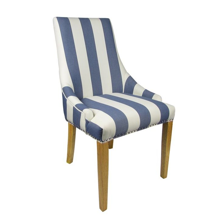 A fabulous design led chair offering flair to any room. It is also incredibly versatile - suitable as a dining, accent or boudoir chair. Seat is sprung and banded for additional comfort and support. The bold blue stripe exudes a striking, almost nautical vibe, which is sure to look stunning in any environment. The chair has rubberwood legs in a natural finish. Supplied fully assembled.