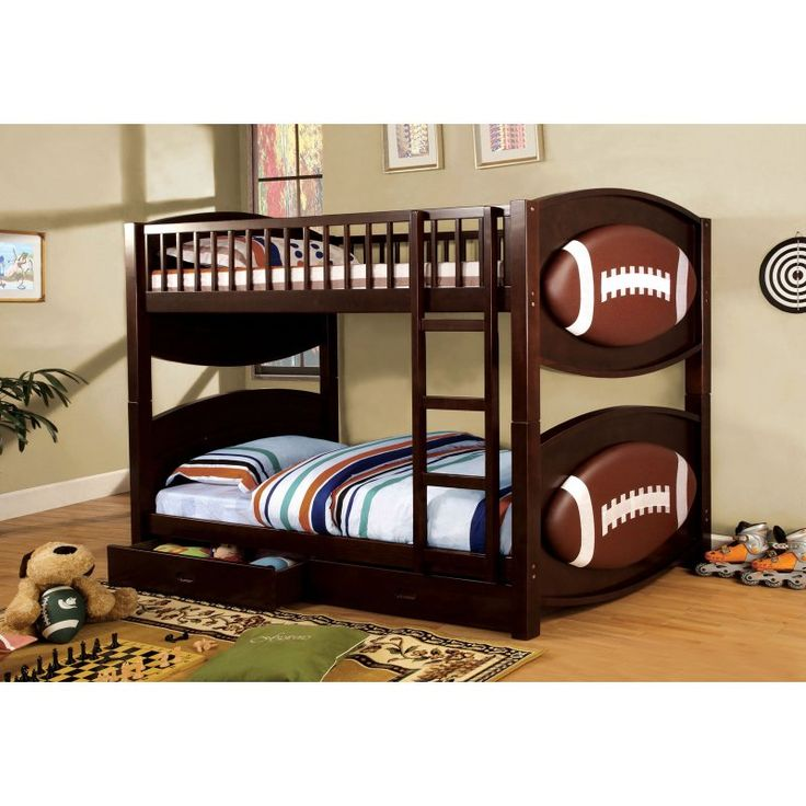 Furniture Of America Football Twin Over Twin Bunk Bed With Storage Drawers Bunk Beds
