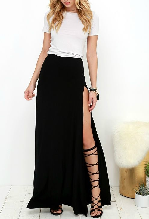 Love this black skirt and gladiator sandals idea!