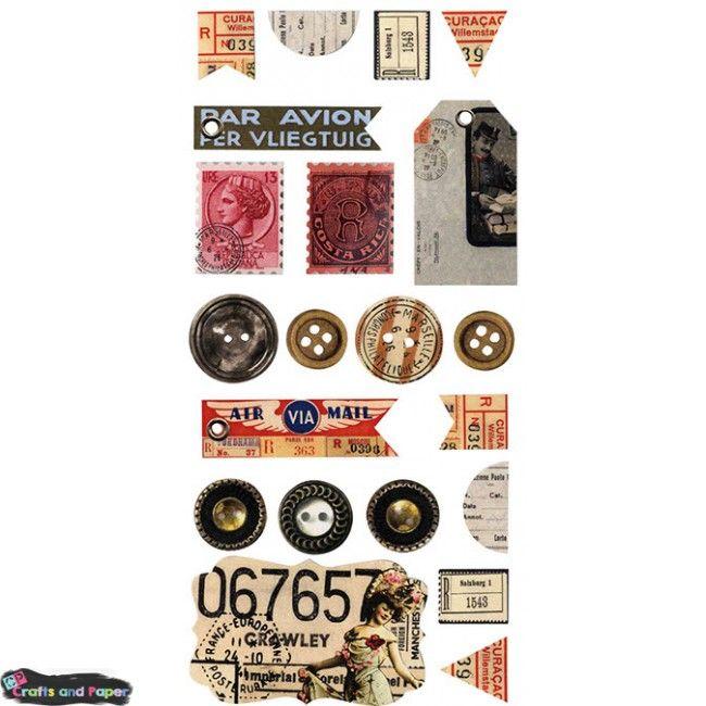 Ετικέτα αυτοκόλλητη χαρτ. vintage travel[21τ] Υλικά χειροτεχνίας, Decoupage, Scrapbooking