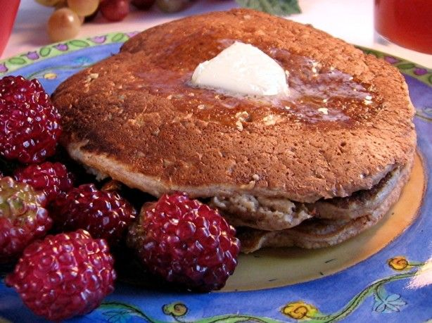 These pancakes are made with oatmeal ground to a flour.  No wheat flour.  I serve these with soy protein sausage links (BOCA brand) and a little pure maple syrup or blue agave nectar (a low-glycemic syrup).