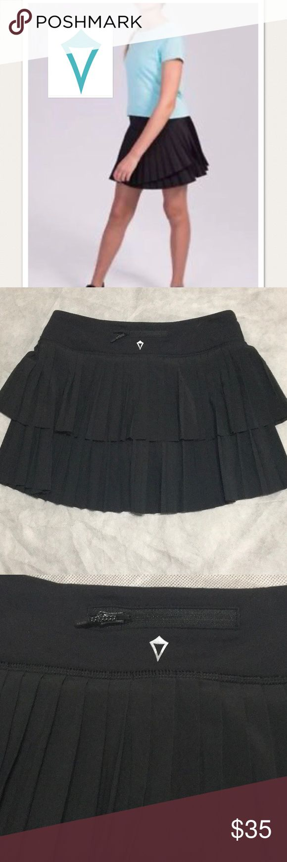 Ivivva pleat the heat skirt sz14 Black pleated skirt with shorts under like new worn washed once no flaws Ivivva Bottoms Skirts
