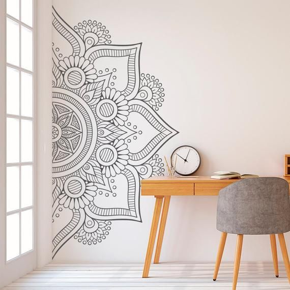 Mandala in Half Wall Sticker, Wall Decal, Decor for Home, Studio, Removable Vinyl Sticker for Meditation, Yoga Wall Art #10
