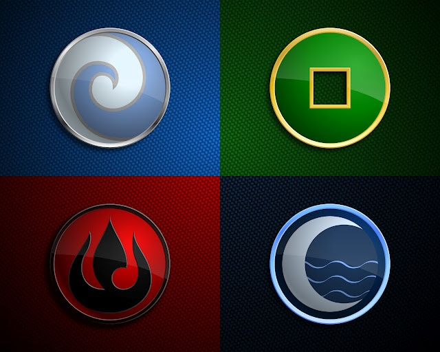 The Four Nations - The Water Tribe, the Fire Nation, the Earth Kingdom and the Air Nomads.