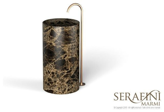Serafini Marmi Entity Circle marble brown black free standing wash basin. If round is your shape this is your choice
