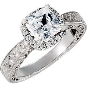 69832 14kw semi mount with head engagement 0650 mm center stone engraved engagement ringswestern - Western Wedding Rings