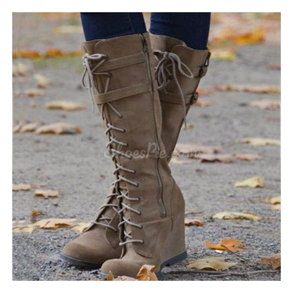 Casual Lace-Up Wedge Knee High Boots (£85) ❤ liked on Polyvore featuring shoes, boots, lace up wedge boots, knee high laced boots, lace front boots, front lace up boots y knee high lace up boots