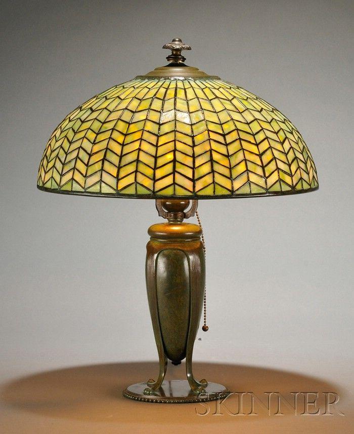 tiffany studios table lamp mosaic art glass and bronze chevrons