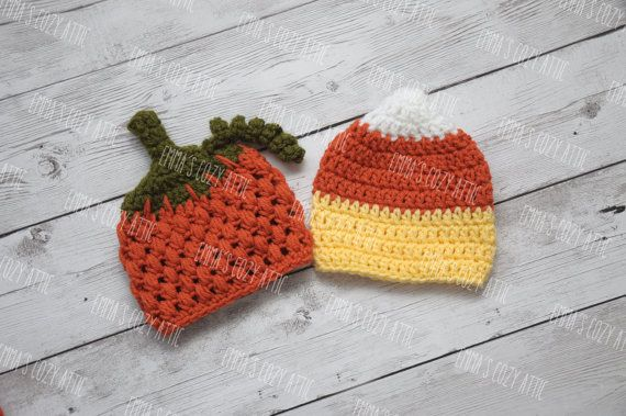 Twin halloween hats twin pumpkin and candy corn by emmascozyattic, $50.00