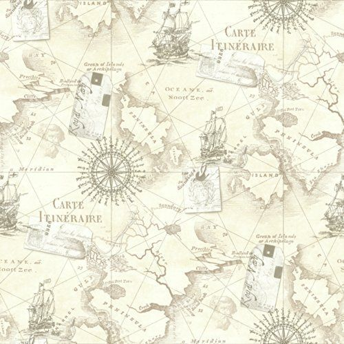 Tapete Arthouse Navigator VIP Kartographie Luxus Vintage Nautische Karte - Naütrlich Beige 622003