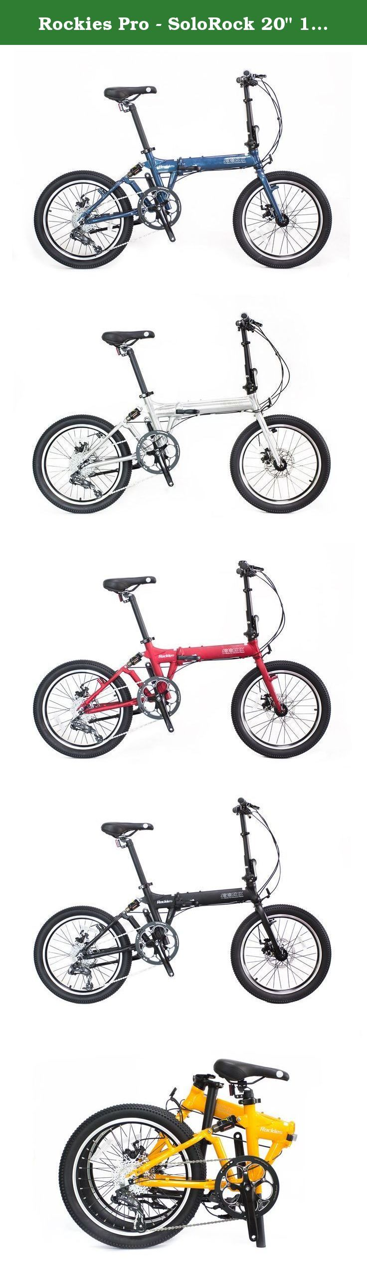 "Rockies Pro - SoloRock 20"" 10 Speed Aluminum Folding Bike. Model: Rockies SRFFA2073, Aluminum 20"" Frame with Rear Suspension, 10 Speed Sram X7, SoloRock® Brand; Features: 10 Speed Sram X7, Disc Brakes, Quick release wheels, Fat Tires - 2.1"" Kenda, Rear Air Suspension, Frame / Fork / Handlebar / seat post Material: 100% 6061 Aluminum; Folding Hinges for top tube and handle bar - Patented 3D forged high strength aluminum folding hinges, Patented semi-arc clamps; Folding Size: 29 x 80 x 66cm…"