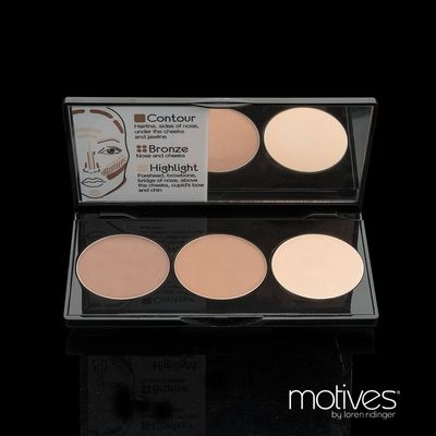 Motives Cosmetics | Market America Contour kit all products one pallette. Makes it much easier to highlight cheekbones and hide imperfections. Slenderize face; accentuate cheeks