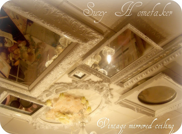 My kitchen ceiling of vintage recycled mirrors !  I would love this in a sun room!