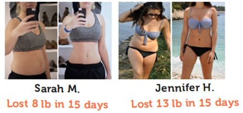 Before and after the 15 day diet.