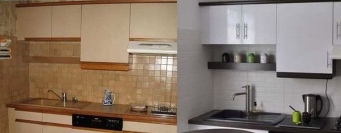 An example showing how to paint kitchen appliances and cabinets.