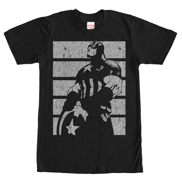 Steve Rogers has always wanted to defend the weak and he finally can on the Marvel Captain America Profile Black T-Shirt. A profile of Captain America is featured in a distressed print down this awesome black Captain America shirt.