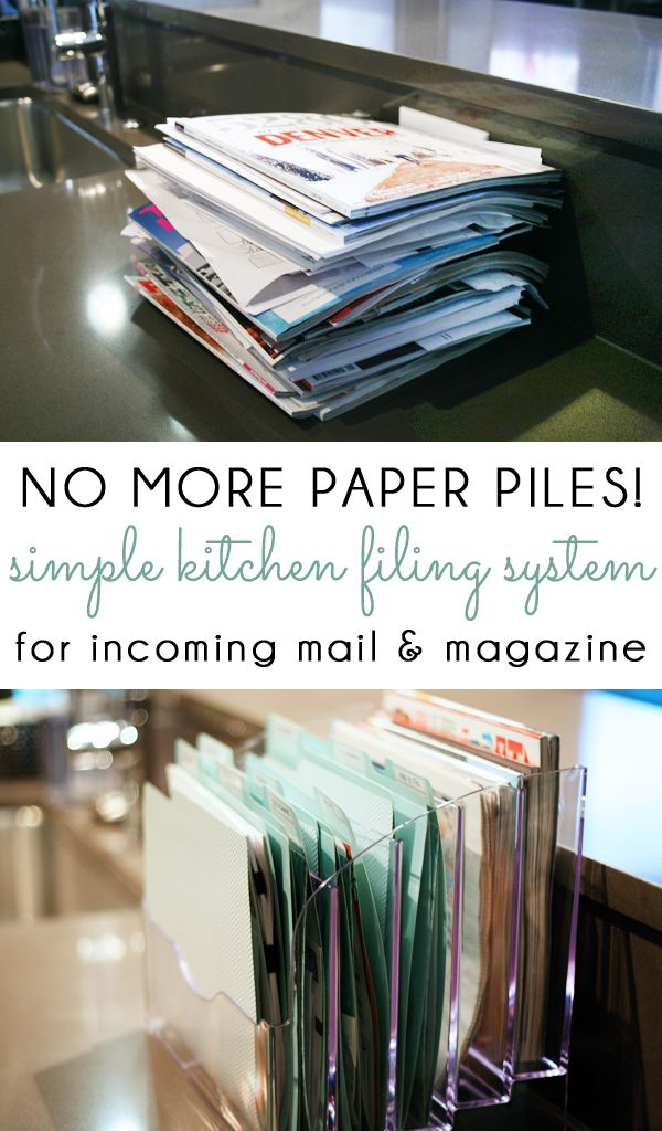 NO MORE PAPER PILES! Manage your incoming mail, kids school papers, catalogs and magazines with a simple kitchen counter filing system!