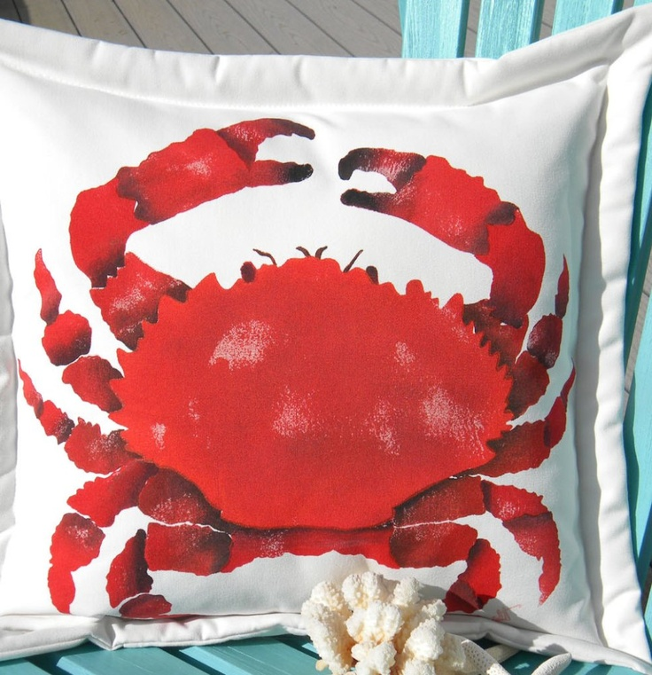 Hand painted pillows hand painted splendid pebble crab for Hand painted pillows