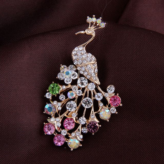 Peacock rhinestone brooches for women fashion rhinestone brooch animal for…